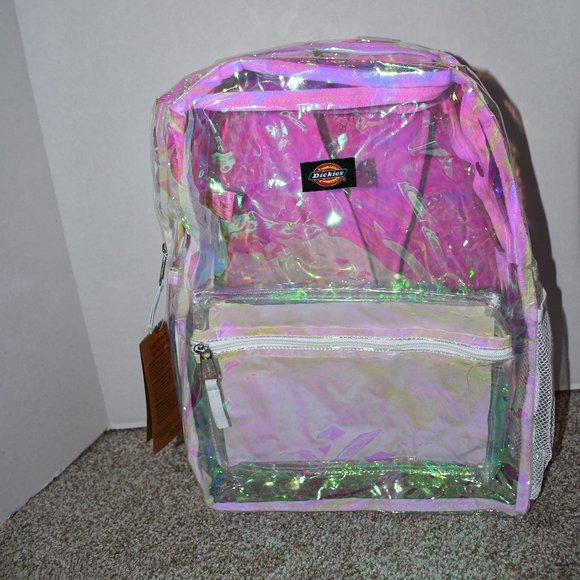 Dickies Clear Laptop Backpack with Pink Hue # 8046